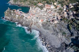 The beach in Vernazza seen from above, Cinque Terre, Italy